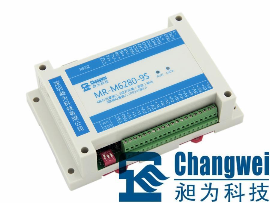 MR-M6280-9S为RS232型隔离6通道开关量输入(DI)、2通道开关量输出(DO)、8通道模拟量输入(AI)信号采集控制设备:6路隔离的开关量输入通道,可实现干接点(开关触点)信号及不高于30V DC湿接点(电平)信号的接入检测;2路隔离的开关量(源极)输出通道,触点容量为100mA/30VDC,可实现小功率负载共电源正极的远程控制;8路隔离的模拟量输入通道,每个通道可输入不同类型信号,支持标准的0~5V、1~5V电压信号和0~20mA、4~20mA电流信号输入,以及其它不超过5V电压、2