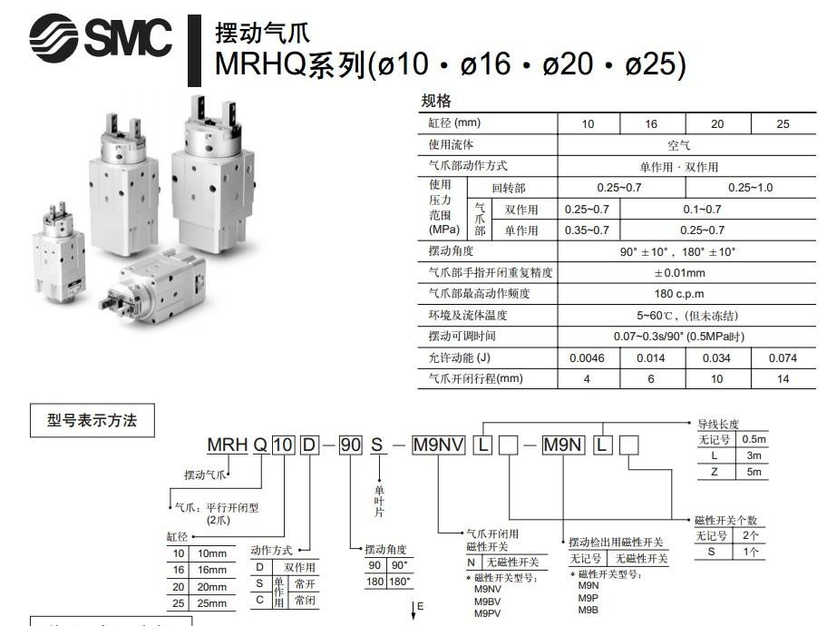 > 日本smc摆动气缸mrhq型号说明技术资料图片