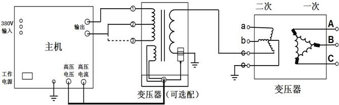 变压器三倍频耐压试验接线图
