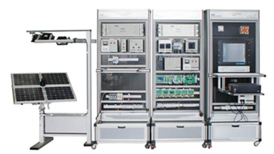 3、光伏供电系统 1) 光伏供电系统的组成 光伏供电系统主要由光伏电源控制单元、光伏输出显示单元、触摸屏、光伏供电控制单元、DSP控制单元、接口单元、西门子S7-200PLC、继电器组、接线排、蓄电池组、可调电阻、断路器、12V开关电源、网孔架等组成。 2) 控制方式 光伏供电控制单元的追日功能有手动控制盒自动控制两个状态,可以进行手动或自动运行光伏电池组件双轴跟踪、灯状态、灯运动操作。 3) DSP控制单元和接口单元 蓄电池的充电过程及充电保护由DSP控制单元、接口单元及程序完成,蓄电池的放电保护由DS