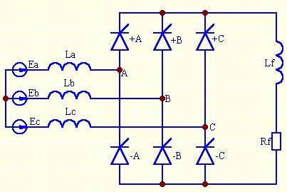 )SCR可控硅整流桥原理接线   为了便于分析,我们将三相桥式SCR可图片