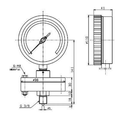 AS3/8x100x0.1MPa PVC隔膜式压力计BT-1右下精器制造MigishitaSeiki